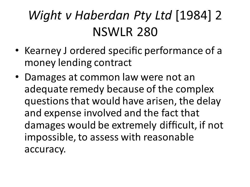 Wight v Haberdan Pty Ltd [1984] 2 NSWLR 280
